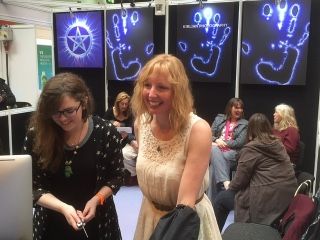 Enjoying the Kirlian experience at the Mind Body and Spirit show at the NEC in Birmingham